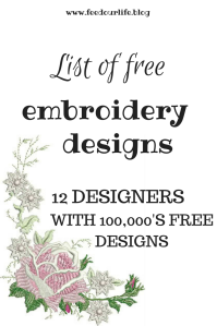 List of Free Embroidery Designs - 12 designers with 100,000's of free designs - beautiful machine embroidery designs for free