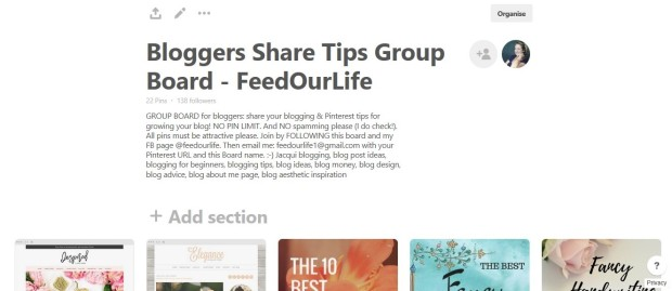 Blogger Share Tips Group Board Feed Our Life
