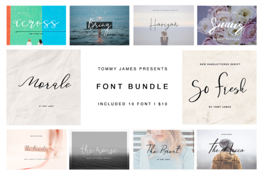 Font Bundle by Tommy James for bogs, wedding stationery and cards