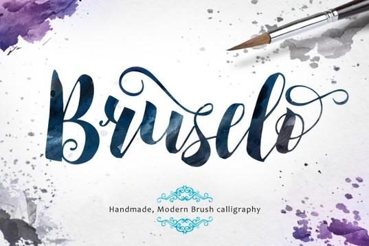Bruselo Script handmade modern brush calligraphy font for blogs