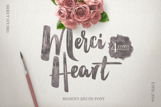 Merci Heart Brush Font for blogs pins and portfolios