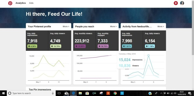 Feed Our Life monthly page views directed from Pinterest