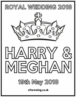 Royal Wedding Crafts - colouring coloring in pages Harry & Meghan Megan
