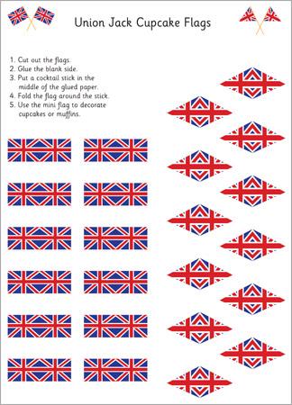 Royal Wedding Crafts - Union Jack Cupcake Flags Printable