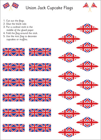 Royal Wedding Crafts - Union Jack Cupcake Flags Printable