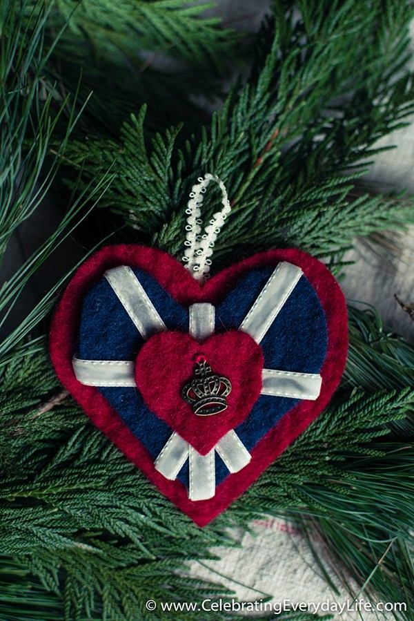 Royal Wedding Crafts - Union Jack Heart Ornament / Pin