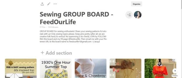Sewing GROUP BOARD FeedOurLife