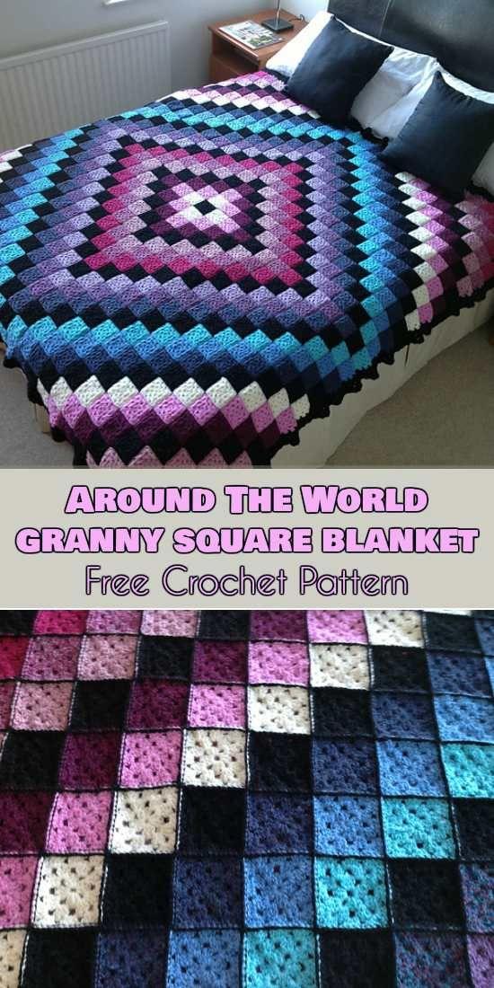 Around the World Granny Square Blanket Pattern - best free crochet blanket patterns - www.feedourlife.blog