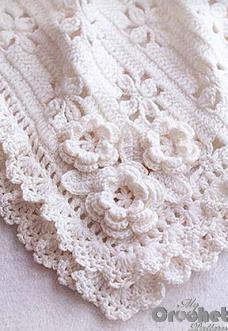 Beautiful white crochet babies blanket - best free crochet blanket patterns - www.feedourlife.blog