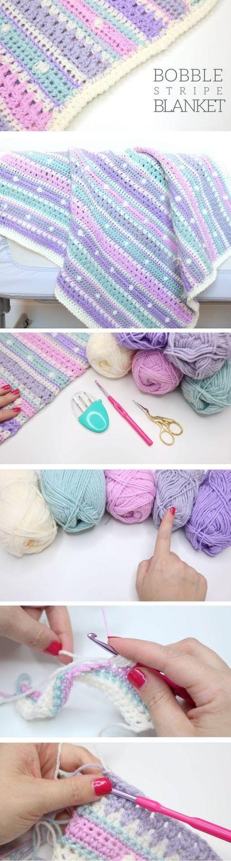 Bobble Stripe Blanket - best free crochet blanket patterns - www.feedourlife.blog