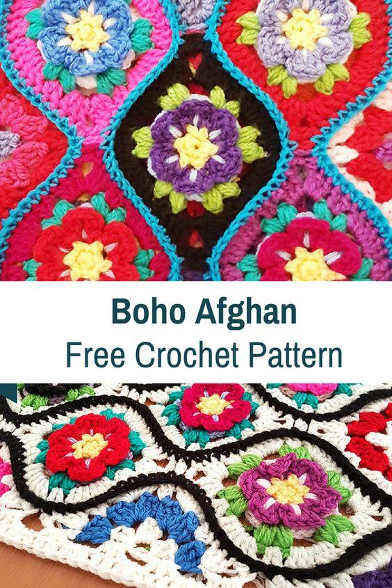 Boho Afghan Free Crochet Pattern - best free crochet blanket patterns - www.feedourlife.blog