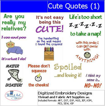 Cute Quotes embroidery designs, embroidery patterns for kids, www.feedourlife.blog