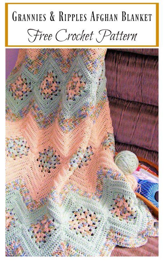 Grannies & Ripples Afghan Blanket crochet blanket - best free crochet blanket patterns - www.feedourlife.blog