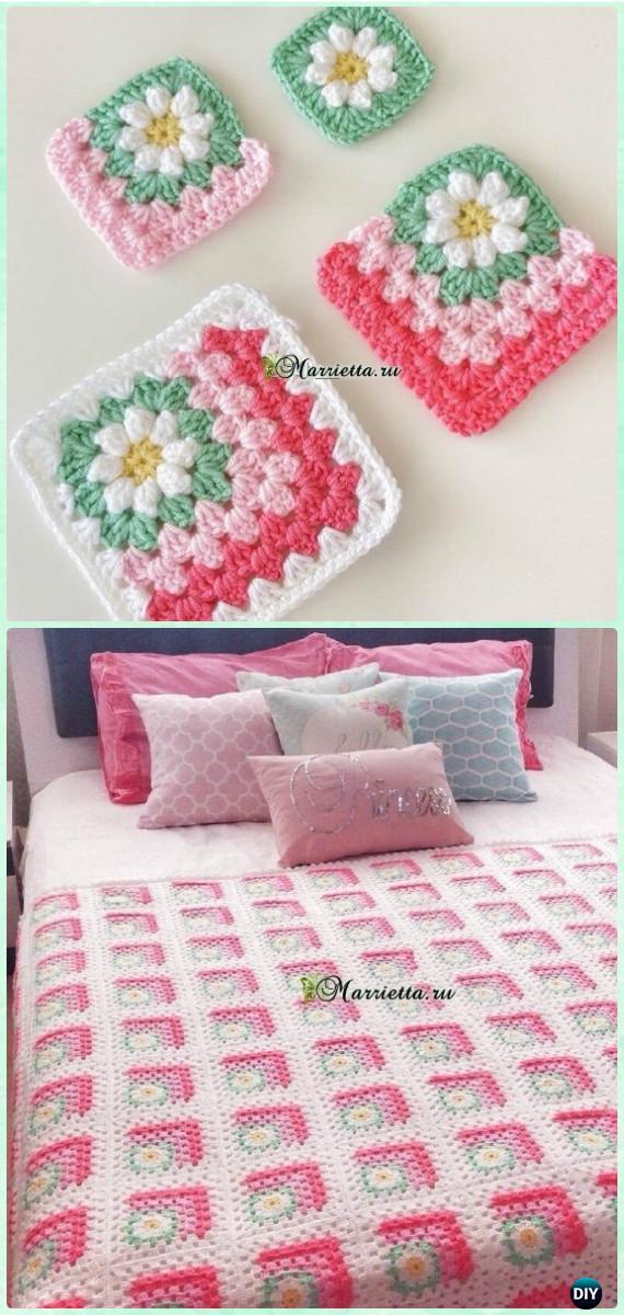Mitered-Granny-Square-Blanket-Free-Pattern - best free crochet blanket patterns - www.feedourlife.blog