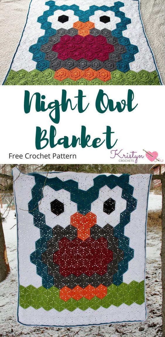 Night Owl Hexagon Crochet Blanket - best free crochet blanket patterns - www.feedourlife.blog