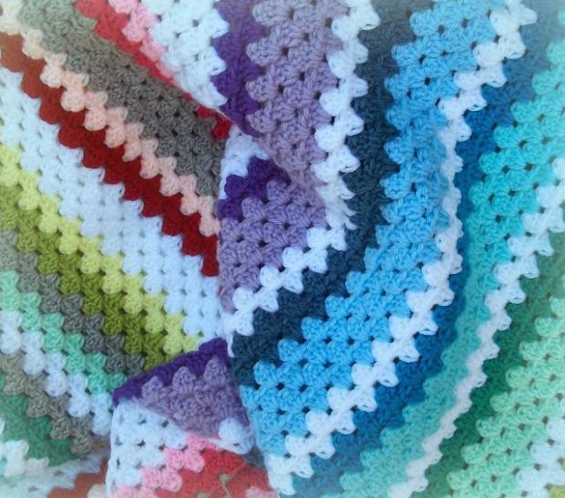 Rainbow Diagonal Candy Stripes Granny Blanket - best free crochet blanket patterns - wwww.feedourlife.blog