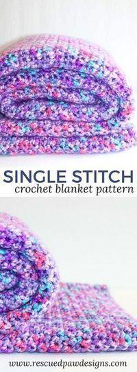 Single Stitch Crochet Blanket - best free crochet blanket patterns - wwwfeedourlife.blog