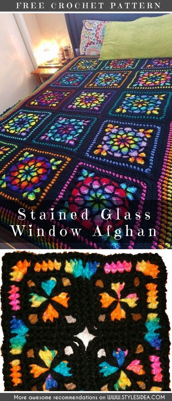 Stained Glass Afghan Square Crochet Pattern and Tutorial - best crochet blanket patterns - www.feedourlife.blog