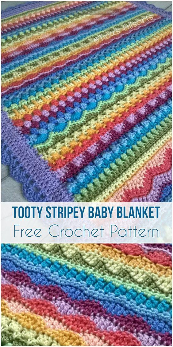 Tooty Stripey Baby Blanket crochet pattern - best free crochet blanket patterns - www.feedourlife.blog