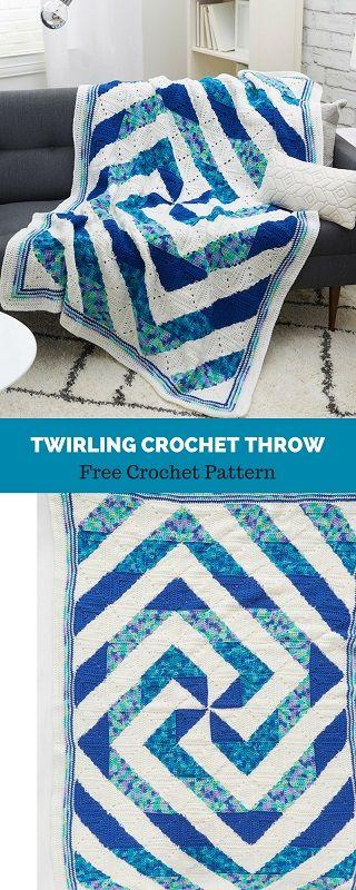 Twirling Crochet Throw Free Crochet Pattern - best crochet blanket patterns - www.feedourlife.blog