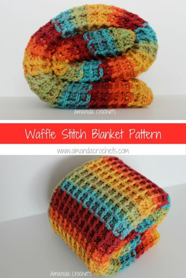 FREE crochet waffle stitch blanket pattern - best free crochet blanket patterns by www.feedourlife.blog