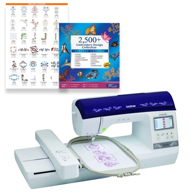 For your next dream embroidery machine, the Brother Brother BP1400E Embriodery machine has 138 built in embroidery designs, 11 embroidery fonts, design editing features, and a 6 in x 10 in embroidery area