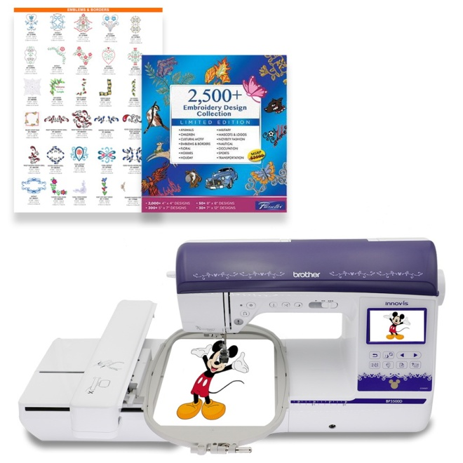 Part of the BP-Series line up, the BP3500D is the ideal sewing and embroidery machine for hobbyists of all skill levels. Take advantage of the 290 built-in sewing stitches, or make your own with the Brother exclusive enhanced My Custom Stitch™ feature. Easily import designs from your USB memory stick, expanding your design capabilities beyond the generous 173 built-in embroidery designs, which include 35 designs featuring Disney characters. Your creativity has virtually no limits. A large workspace, Automatic Height Adjuster™ (AHA®) feature and Pivot function all make for easy sewing and quilting projects. A built-in USB port allows you to easily import designs from your USB memory stick, expanding your design capabilities beyond the generous 173 built-in embroidery designs, including 35 designs featuring Disney characters. Your creativity has no limits with the BP3500D! Plus you get the FREE 2500+ embroidery designs collection!