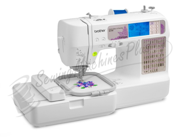 The Brother SE-400 computerized sewing and embroidery machine gives your projects a high-end look with a price to fit your budget! It has 70 embroidery designs built in, 67 sewing stitches, 120 frame pattern combinations and 5 embroidery letter fonts. It's the perfect machine for all of your sewing, embroidery, crafting and home decor projects. The USB port makes it easy to import embroidery designs straight from your computer. Other features like the automatic needle threading system and LCD touch screen make sewing easy. The Quick Set drop-in top bobbin, easy bobbin winding system and push button thread cutter add a new level of convenience. With a large assortment of included accessories, the Brother SE-400 sewing machine is truly the value priced, feature rich choice for the budding fashion designer.