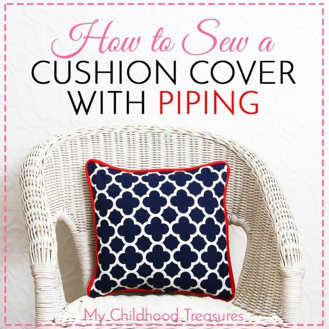 How to Sew a cushion cover with piping by the Treasurie and brought to you by www.feedourlife.blog