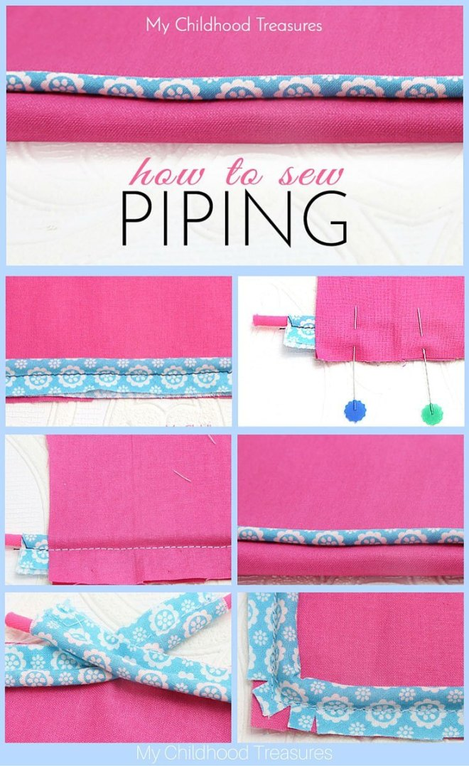 How to sew piping for beginners, part 2 by the Treasurie and brought to you by www.feedourlife.blog