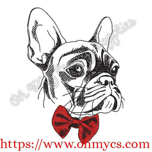 French bulldog with bowtie free embroidery design