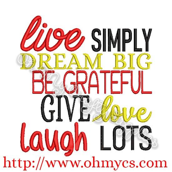 Live simply dream big free embroidery design