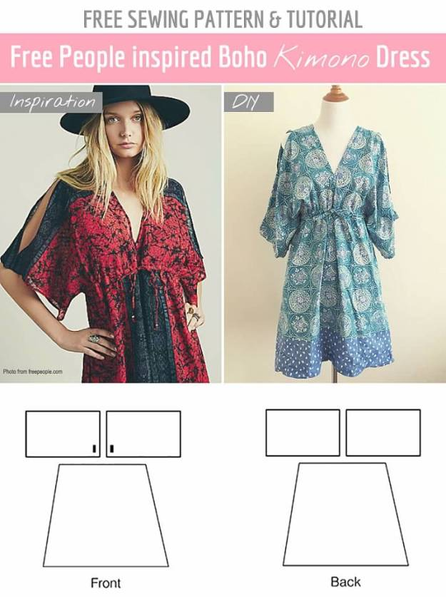 FREE PATTERN - Kimono Dress by Sew in Love and brought to you by www.feedourlife.blog