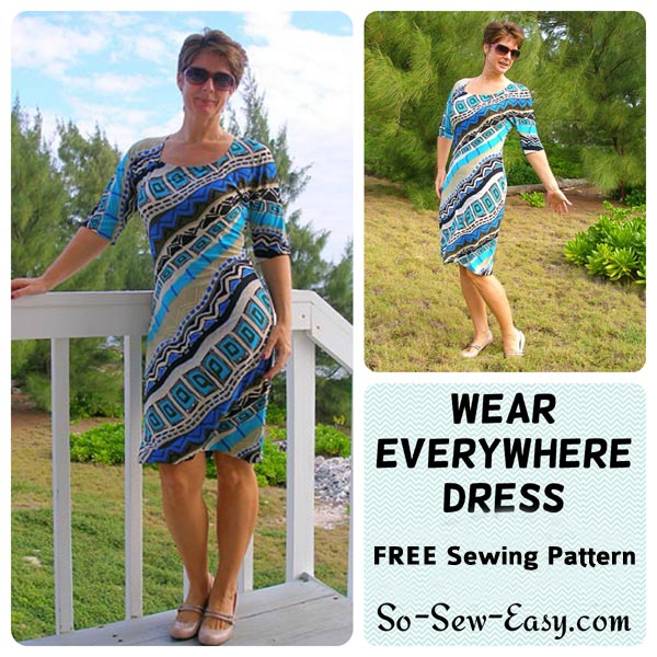 FREE PATTERN - Wear everywhere dress by So Sew Easy and brought to you by www.feedourlife.blog