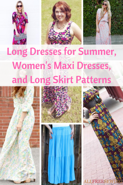FREE PATTERNS - 29 Long Summer Dresses and Skirts by All Free Sewing and brought to you by www.feedourlife.blog
