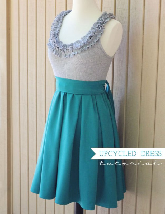 FREE PATTERN - Upcycled Ruffle Dress - by How Joyful and brought to you by www.feedourlife.blog
