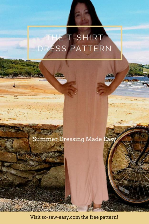 FREE PATTERN - T-Shirt Dress Pattern - by So Sew Easy and brought to you by www.feedourlife.blog