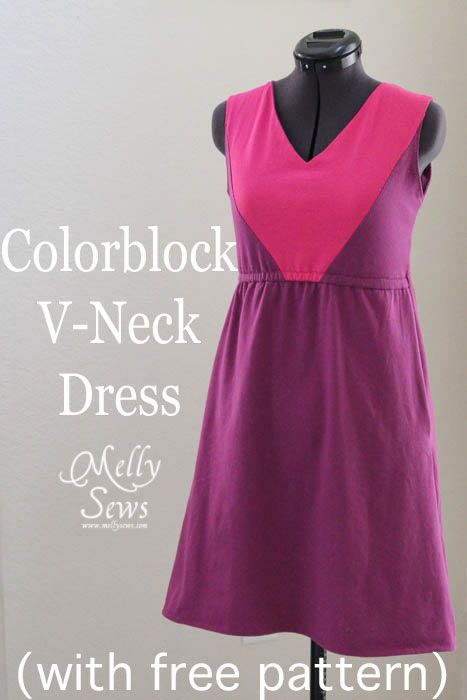 FREE PATTERN - Colour Block V Neck Sundress - by Mellysews and brought to you by www.feedourlife.blog