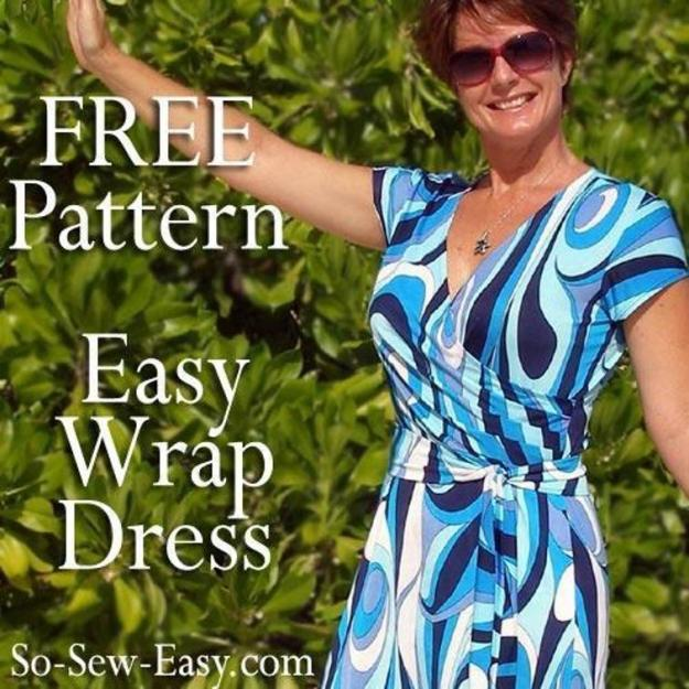 FREE PATTERN - Easy Wrap Dress - by So Sew Easy and brought to you by www.feedourlife.blog